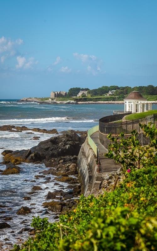 The Cliff Walk straddles Newport's coastal landscape.