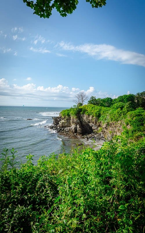 Cliff Walk coastal scenery in Newport, Rhode Island.