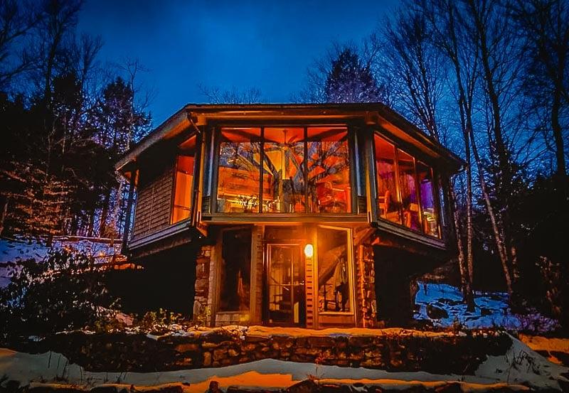 Glass treehouse in Otis, Massachusetts.