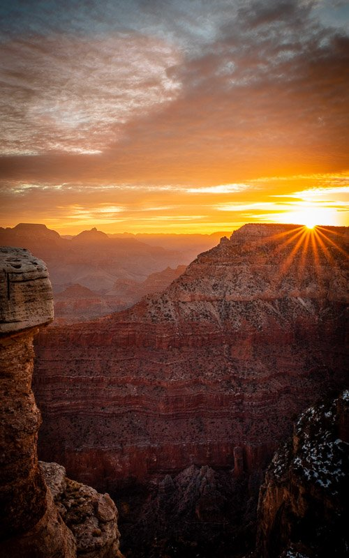 Sunrise at the Grand Canyon is an unforgettable experience.