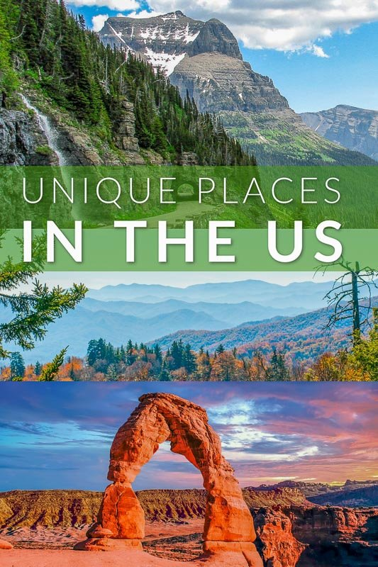 Unique places in the USA pinterest pin