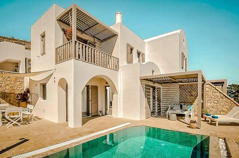 An extravagant villa in Santorini, Greece.