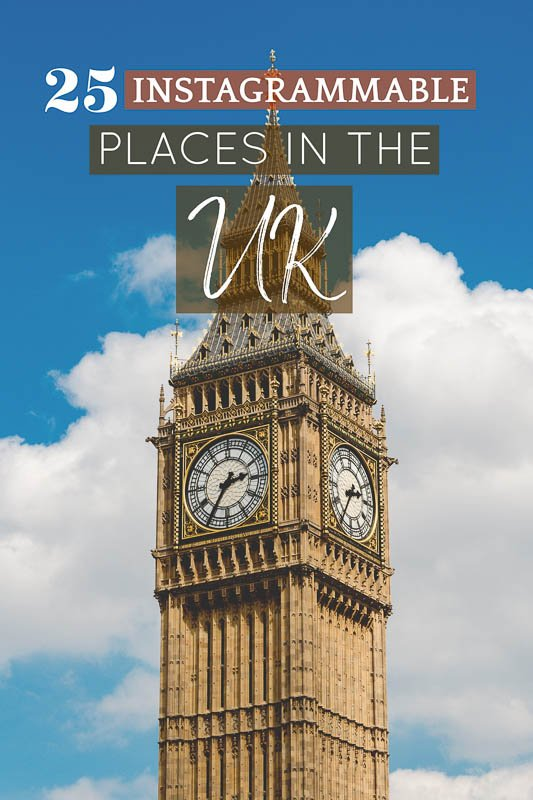 Instagrammable places in the UK pinterest image pin