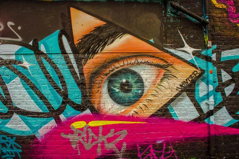 Shoreditch street art in London, England.