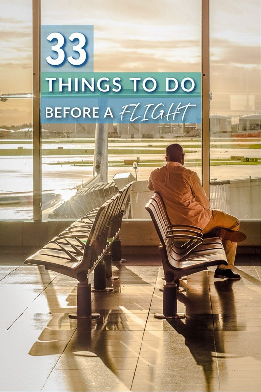 What to do before a flight pinterest image