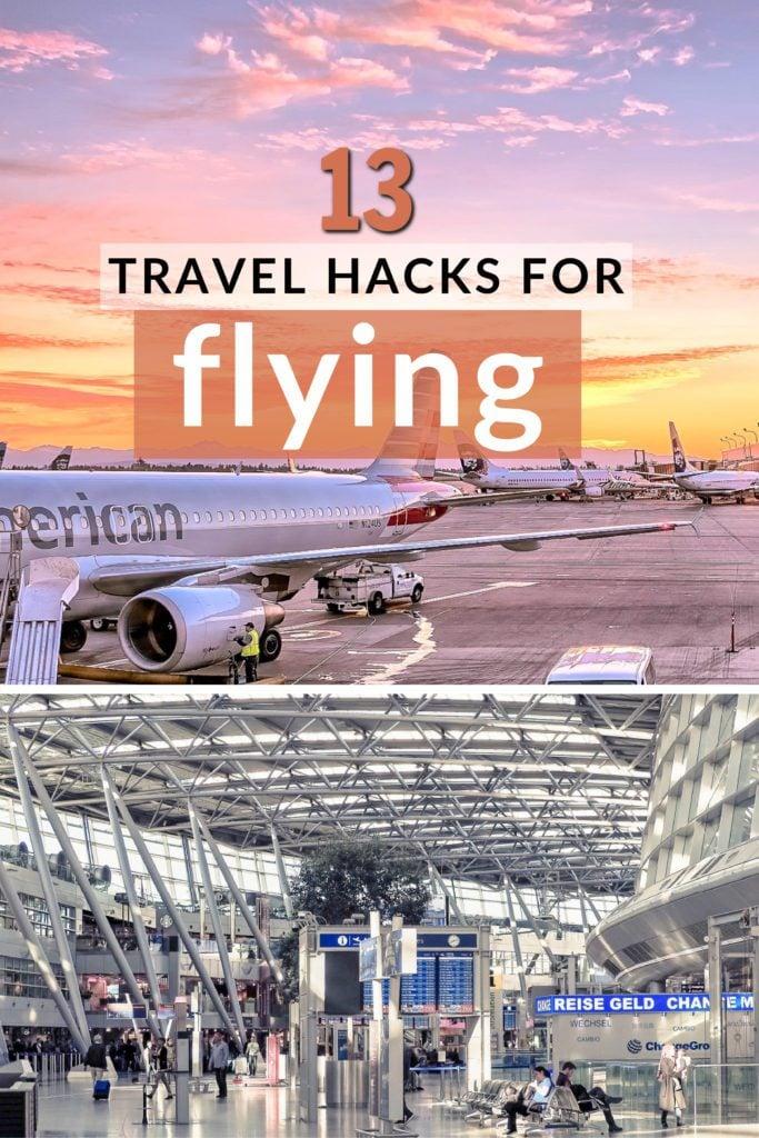 Travel hacks for flying pinterest image