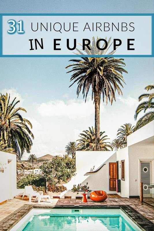 Unique Airbnbs in Europe for large groups of family and friends pinterest pin. One of the best vacation rentals in Europe