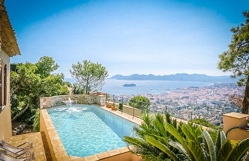 A beautiful villa with views of the French Riviera.
