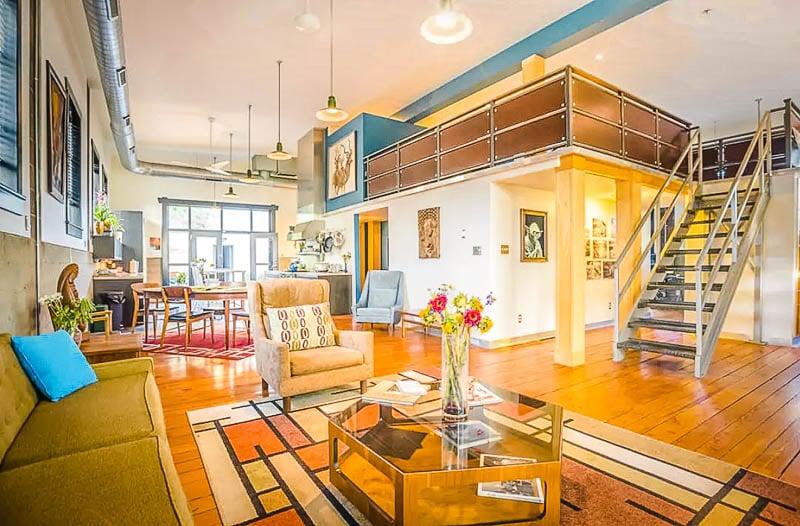 A sleek urban Airbnb in Denver, Colorado.