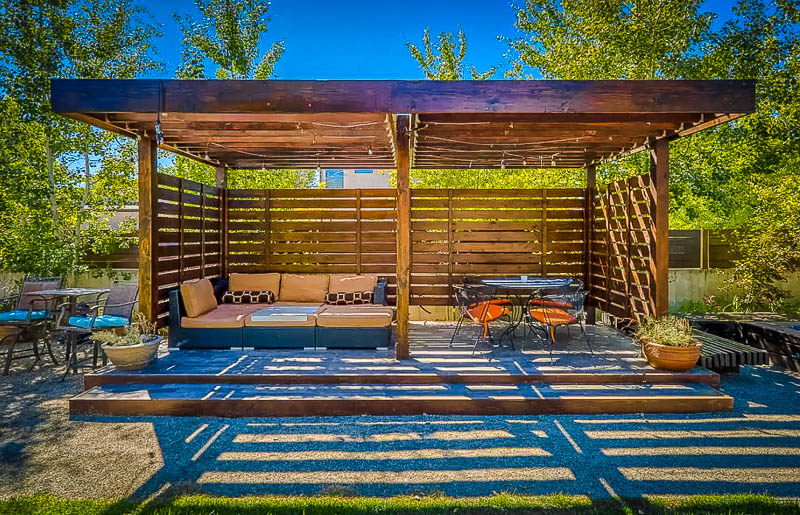 Beautiful outdoor seating area with chairs and tables