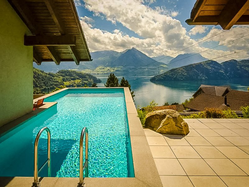 Pool area overlooking Lake Lucerne