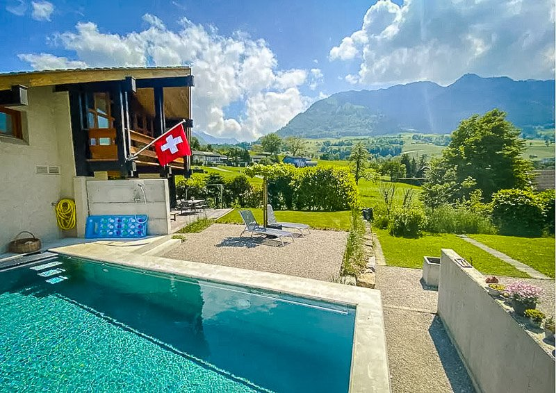 A top Airbnb in Switzerland with a pool.