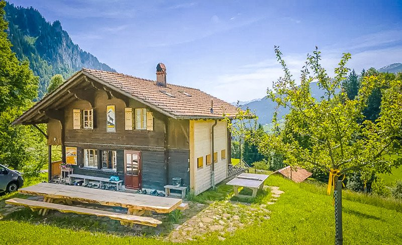An authentic Swiss chalet that can accommodate 25 guests.