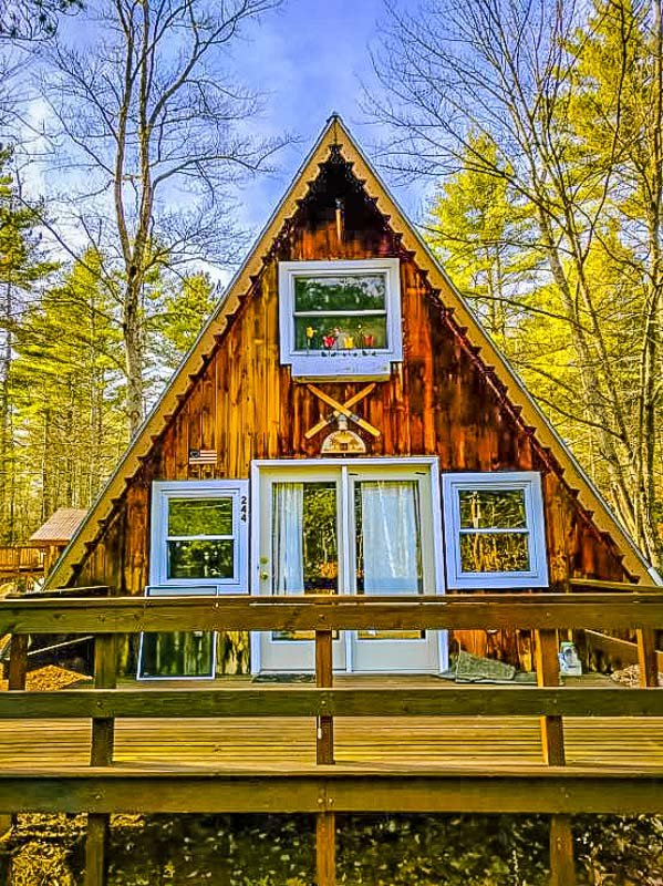 beautiful a frame cabin in conway, new hampshire