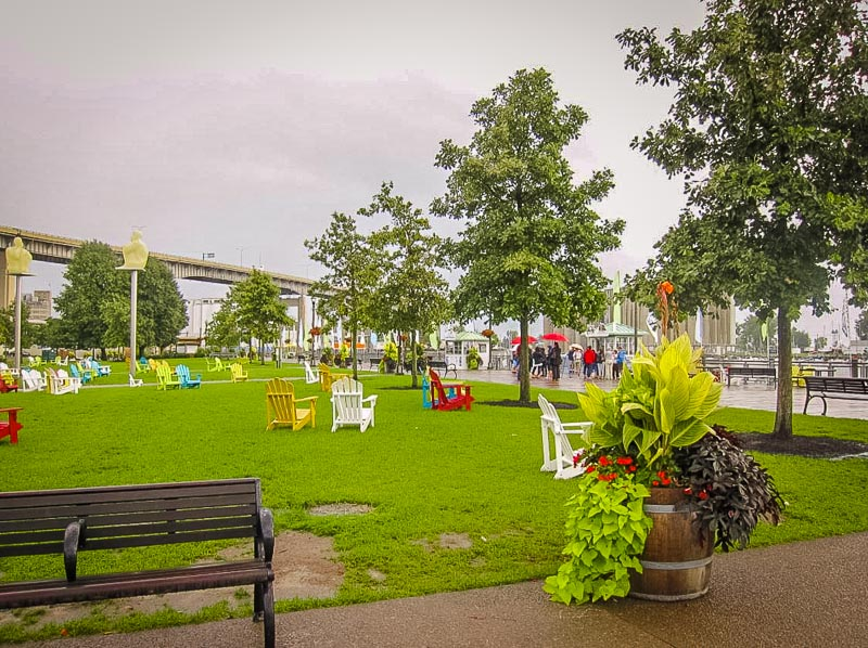 Take a seat on one of these Adirondack chairs and enjoy the wonderful alfresco scene in Buffalo, New York.