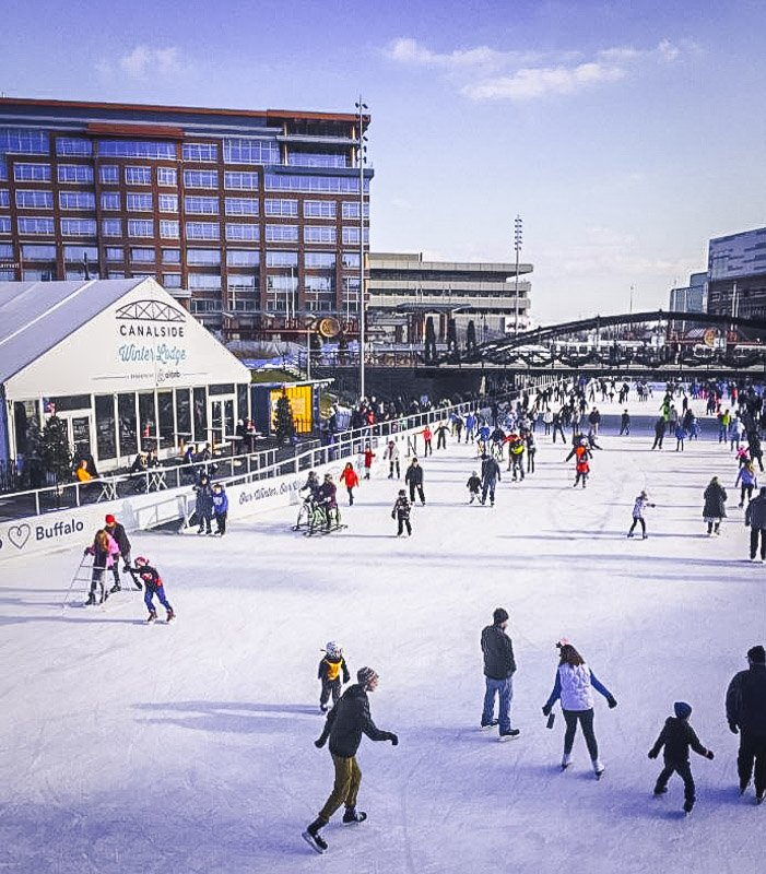 In the winter, ice skating is one of the best fun things to do in Buffalo, NY.