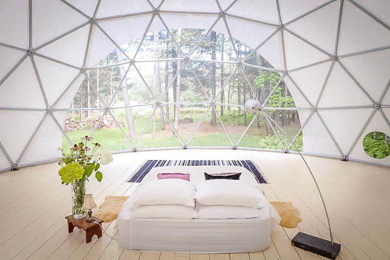 A geo dome tucked away in nature
