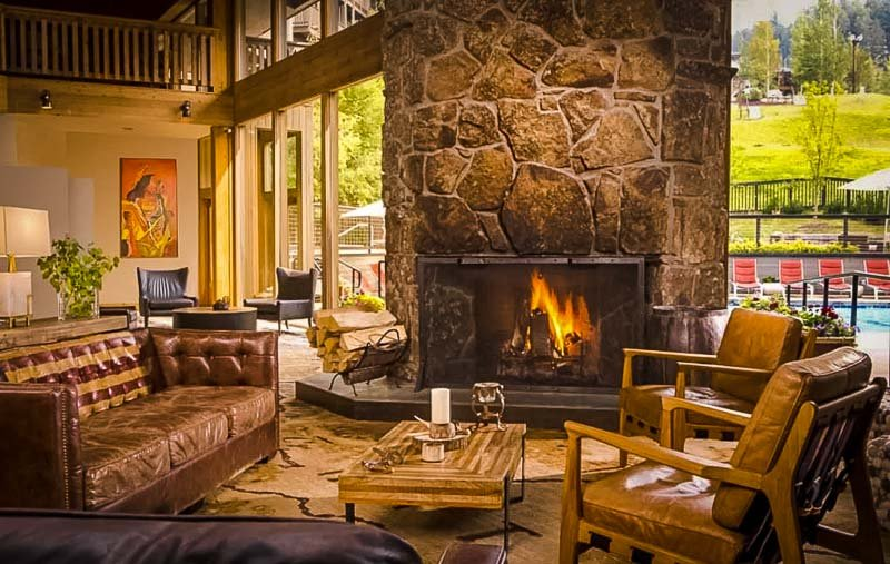 This Airbnb vacation rental in Jackson, Wyoming offers a hot tub, fireplace, and pool