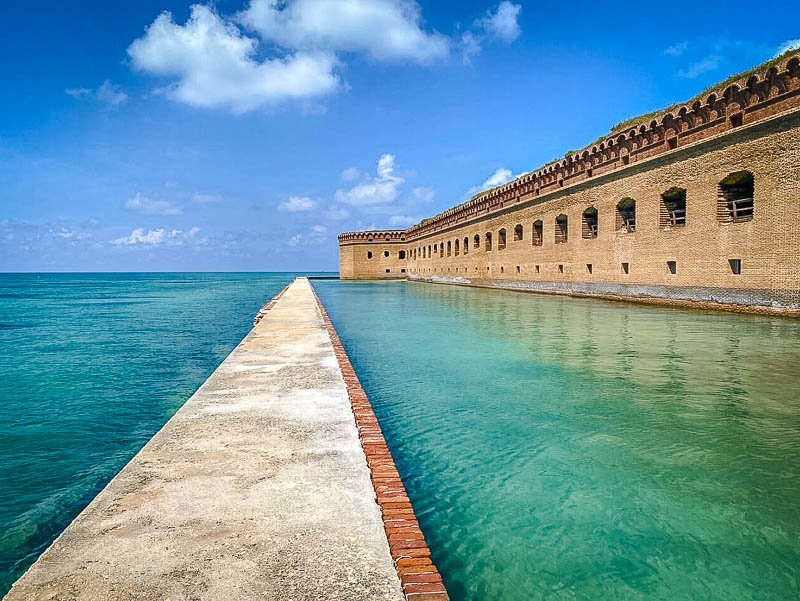 Fort Jefferson is an unfinished fortress in Dry Tortugas National Park. It's the largest brick structure in the United States.