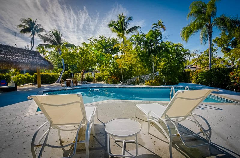 Spacious pool area at the Pelican Palms