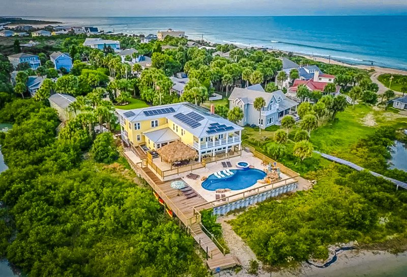 Aerial view of this incredible waterfront villa.