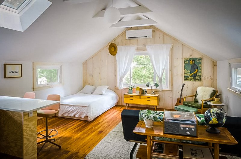 A unique treehouse style airbnb in Rhode Island