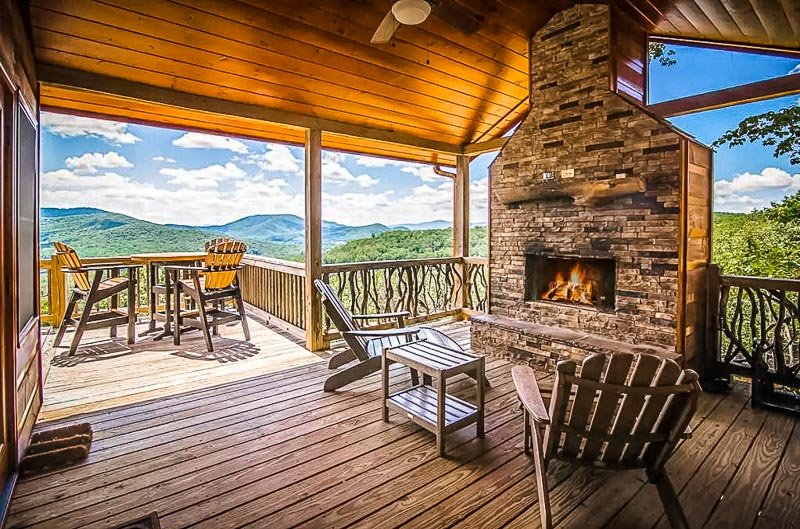 Wraparound porch with a view.