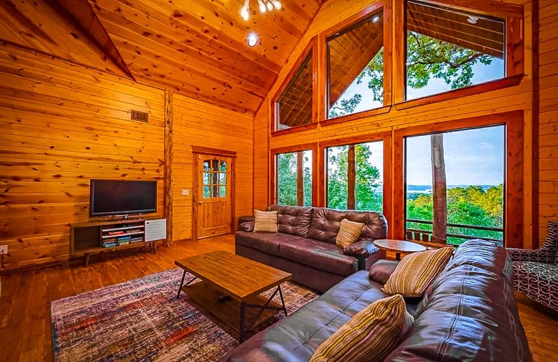 Warm and cozy living room inside the cabin