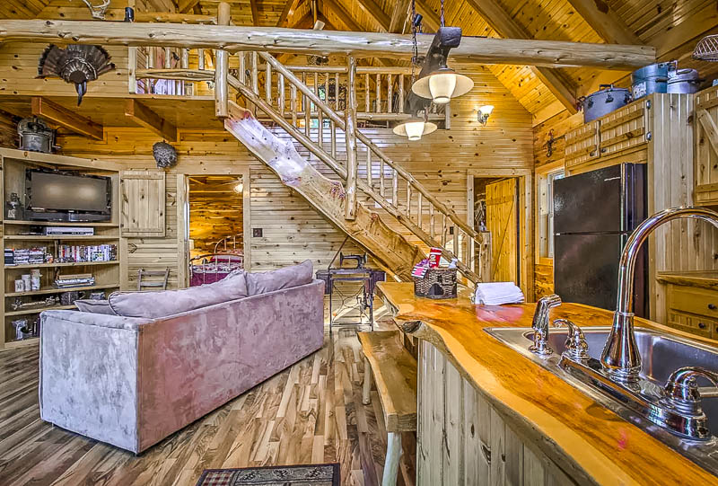 Rustic wooden interior living space.