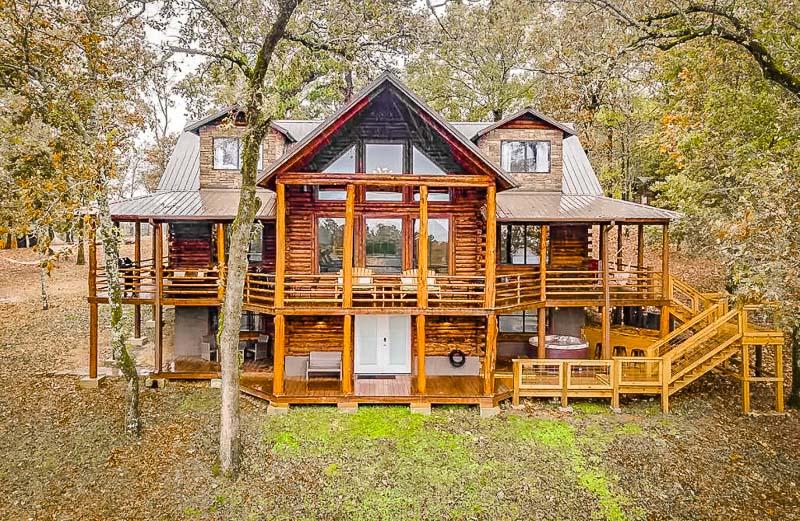 Log cabin façade.