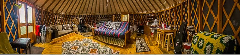Beautiful and spacious interior of the yurt accommodation