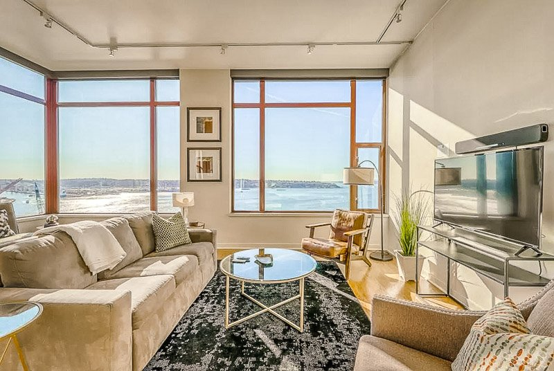 Living room with a view of downtown Seattle