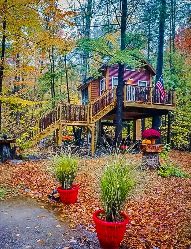 The treehouse accommodation is especially magical during the fall foliage season
