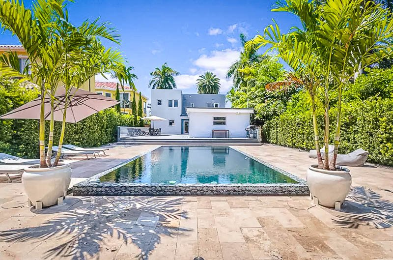 A luxurious waterfront villa for rent in Miami.