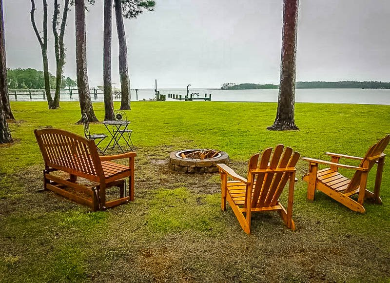 Scenic waterfront views from the Adirondack chairs