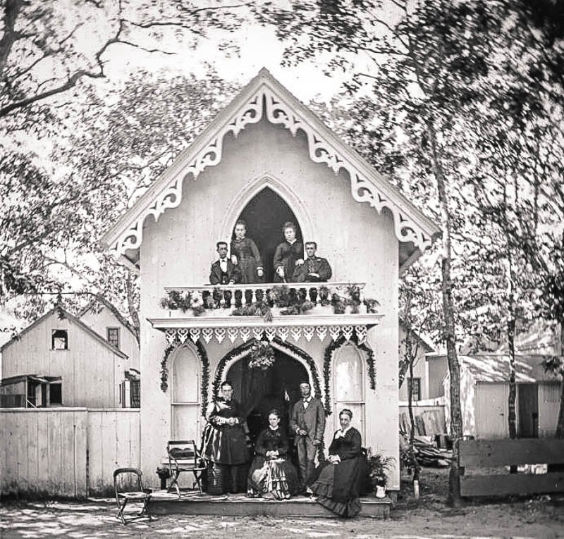 Historical photo of this gingerbread cottage on Martha's Vineyard.