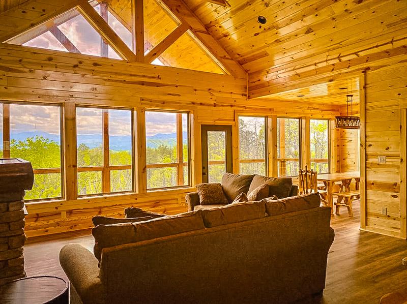 Log cabin interior.