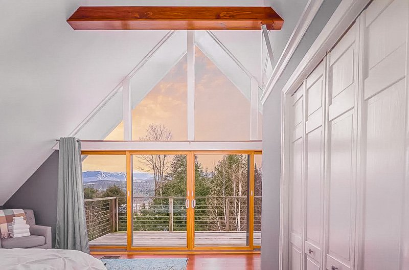 Bedroom with a view of the mountains