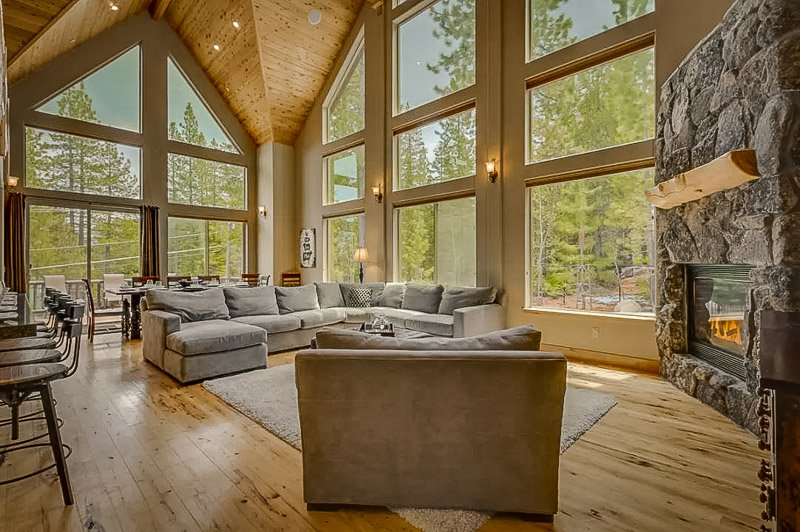 Elegant living room furniture and a view