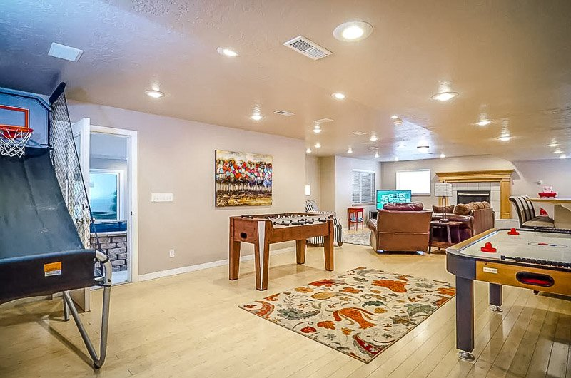 Entertainment room featuring various family/arcade games.