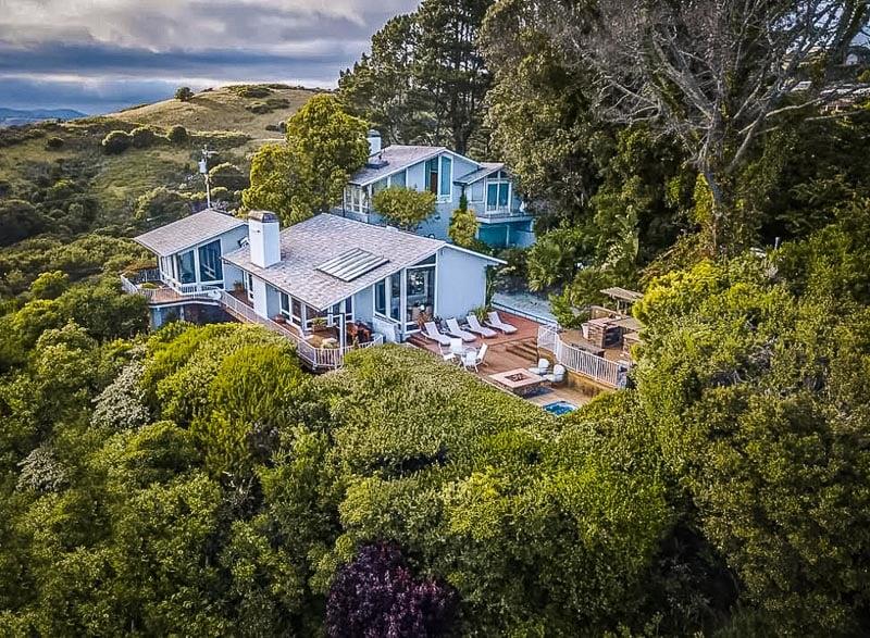 Luxury Airbnb villa near Muir Woods overlooking San Francisco Bay.