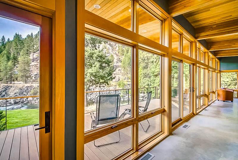 Beautiful wooden sliding doors and outdoor deck