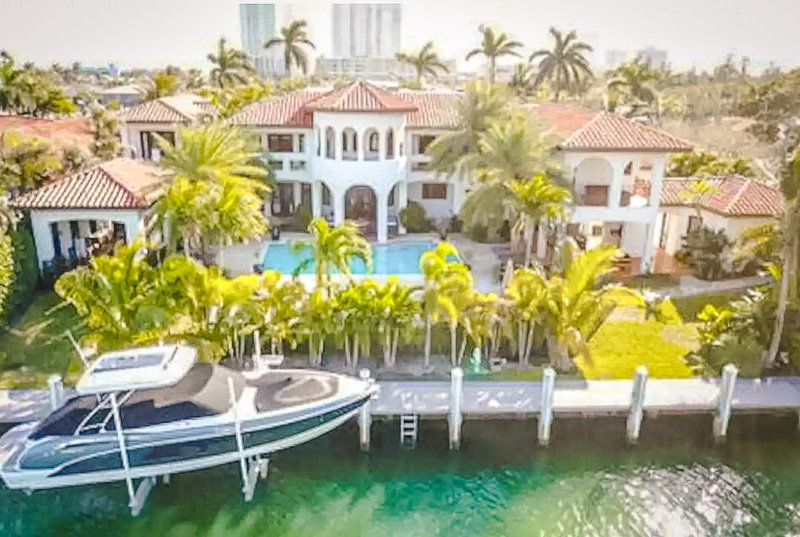 Aerial view of the villa on the waterfront