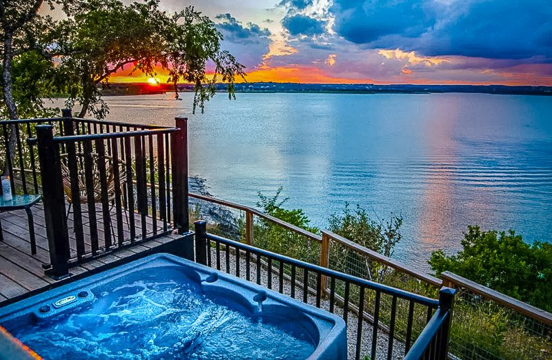 Hot tub with a view of Canyon Lake