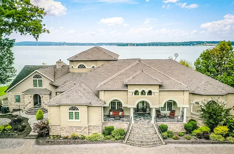 Extravagant estate overlooking the water.