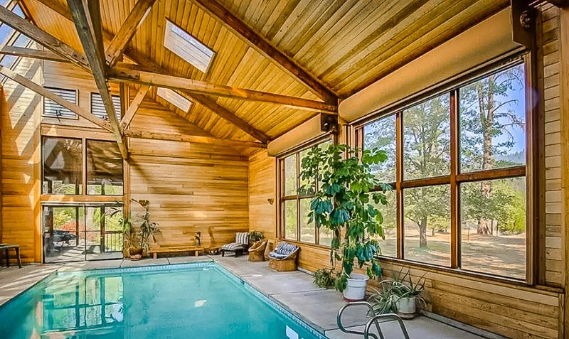 Riverfront Airbnb with indoor pool.