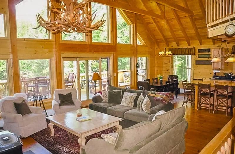 Rustic log cabin décor.