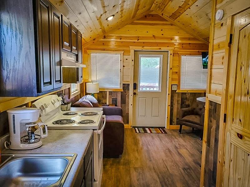 Rustic log cabin interior décor