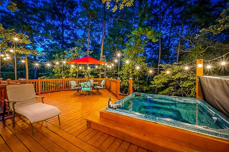 Hot tub overlooking the forest