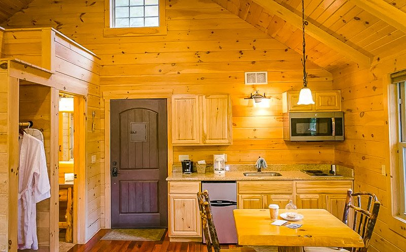 Log cabin style interior furnishings